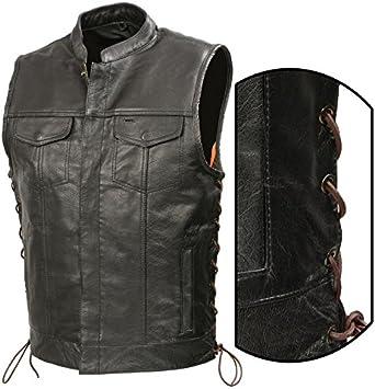 TALL VERSION Men/'s Leather 10 Pocket Side Lace Biker Vest w// Gun /& Ammo Pocket