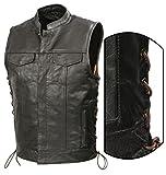 SOA Mens Leather Club Style Vest BROWN SIDE LACE, Concealed Gun Pockets, Premium Buffalo Leather Biker Vest, Patches Friendly Vest (Black, XL)