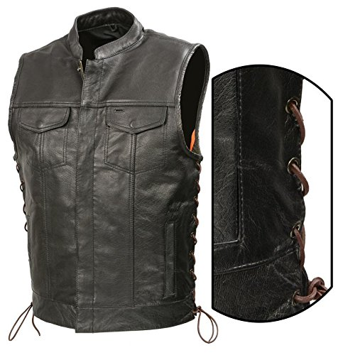 - SOA Mens Leather Club Style Vest BROWN SIDE LACE, Concealed Gun Pockets, Premium Buffalo Leather Biker Vest, Patches Friendly Vest (Black, XL)