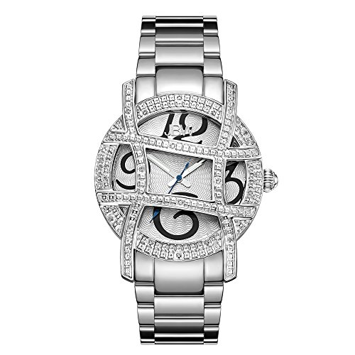 JBW Women's JB-6214-B Olympia Stainless Steel Designer Dial Diamond (Diamond White Dial Watch)
