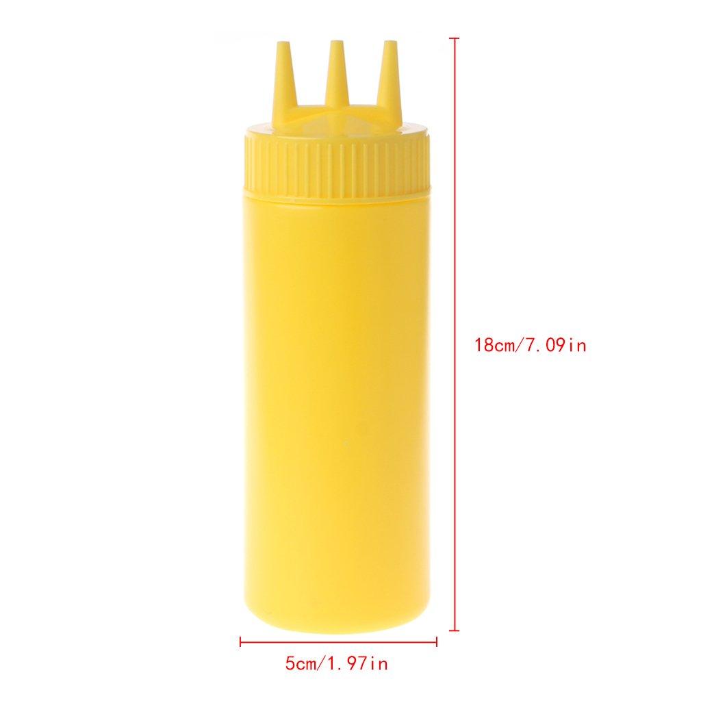 Milue 3 Hole Squeeze Bottle Condiment Dispenser Sauce Vinegar Oil Ketchup Cruet Bin (White) by Milue (Image #3)
