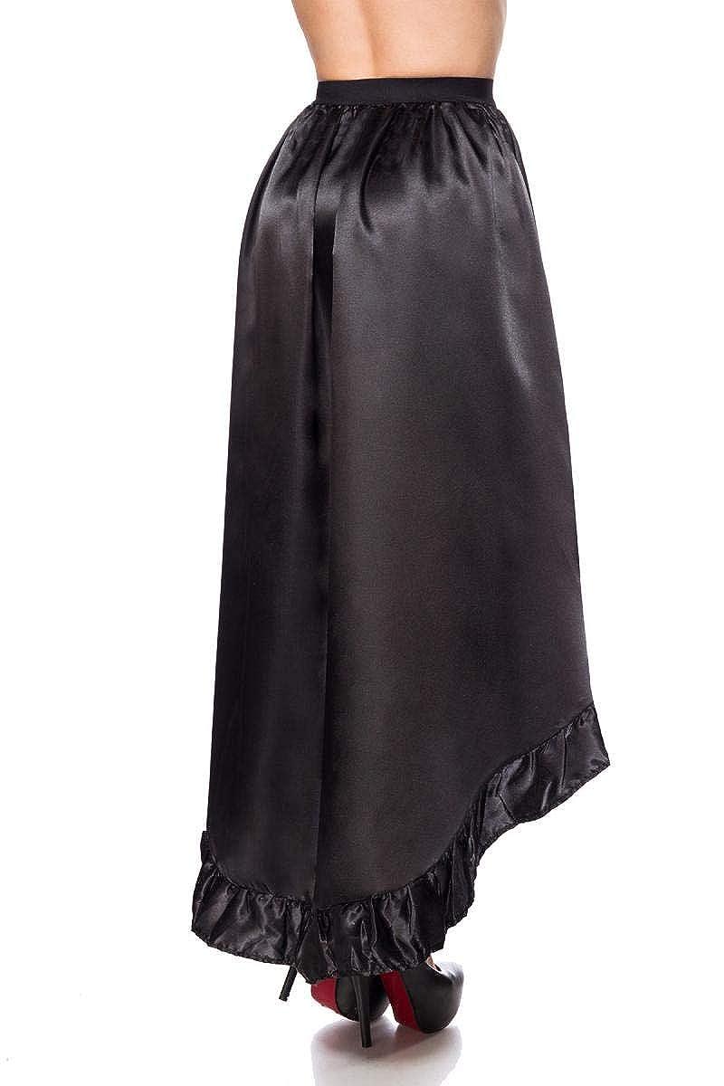 5a0d7020e87f36 Frauen Langer schwarzer Satin Volantrock vorn offen aus mit asymmetrischem  Saum Burlesque: Amazon.de: Bekleidung