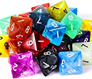TecUnite 25 Pieces Polyhedral Dice Set with Black Pouch for DND RPG MTG and Other Table Games with Random Mult