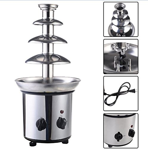 Quality Fondue Fountain - Commercial Luxury Chocolate Fondue Fountain - New 4 Tiers Stainless Steel - Hot Chocolate for Party