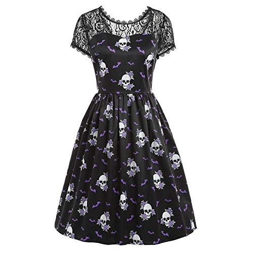 GOVOW Halloween Costumes for Women Short Sleeve Retro Lace Vintage Dress Pumpkin Swing Dress