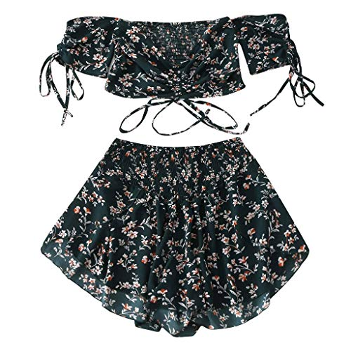 Answerl Women's 2 Piece Boho Floral Print Crop Cami Top with Shorts Set Off Shoulder Short Sleeves Summer Tops Blouse Blue ()