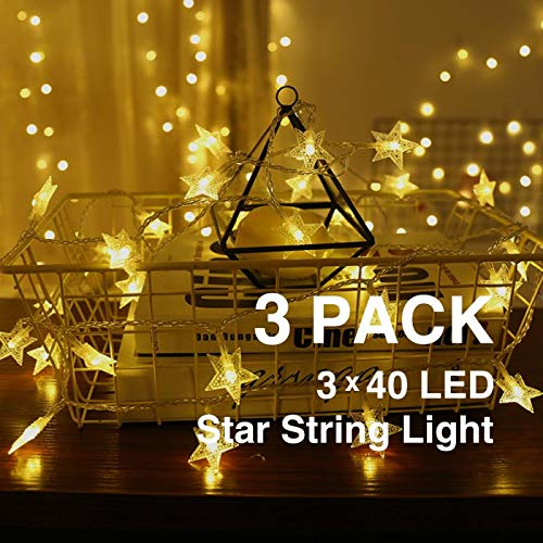 Mai Z i 3 Pack 40 LED 19.5 FT Star String Lights, Star String Lights Battery Operated ,for Home, Party, Christmas, Wedding, Garden Decoration(3 Pack) (Warm White)]()