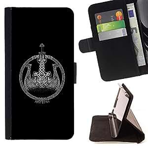 BullDog Case - FOR/Sony Xperia m55w Z3 Compact Mini / - / black Viking ship wreath black white /- Monedero de cuero de la PU Llevar cubierta de la caja con el ID Credit Card Slots Flip funda de cuer