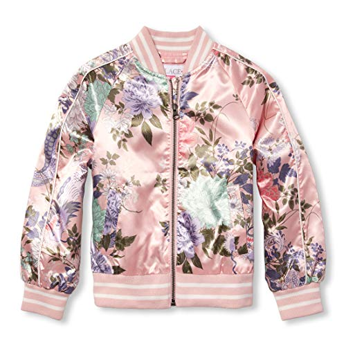 The Children's Place Girls' Big Printed Bomber Jacket, Pink Tinge, M (7/8)]()