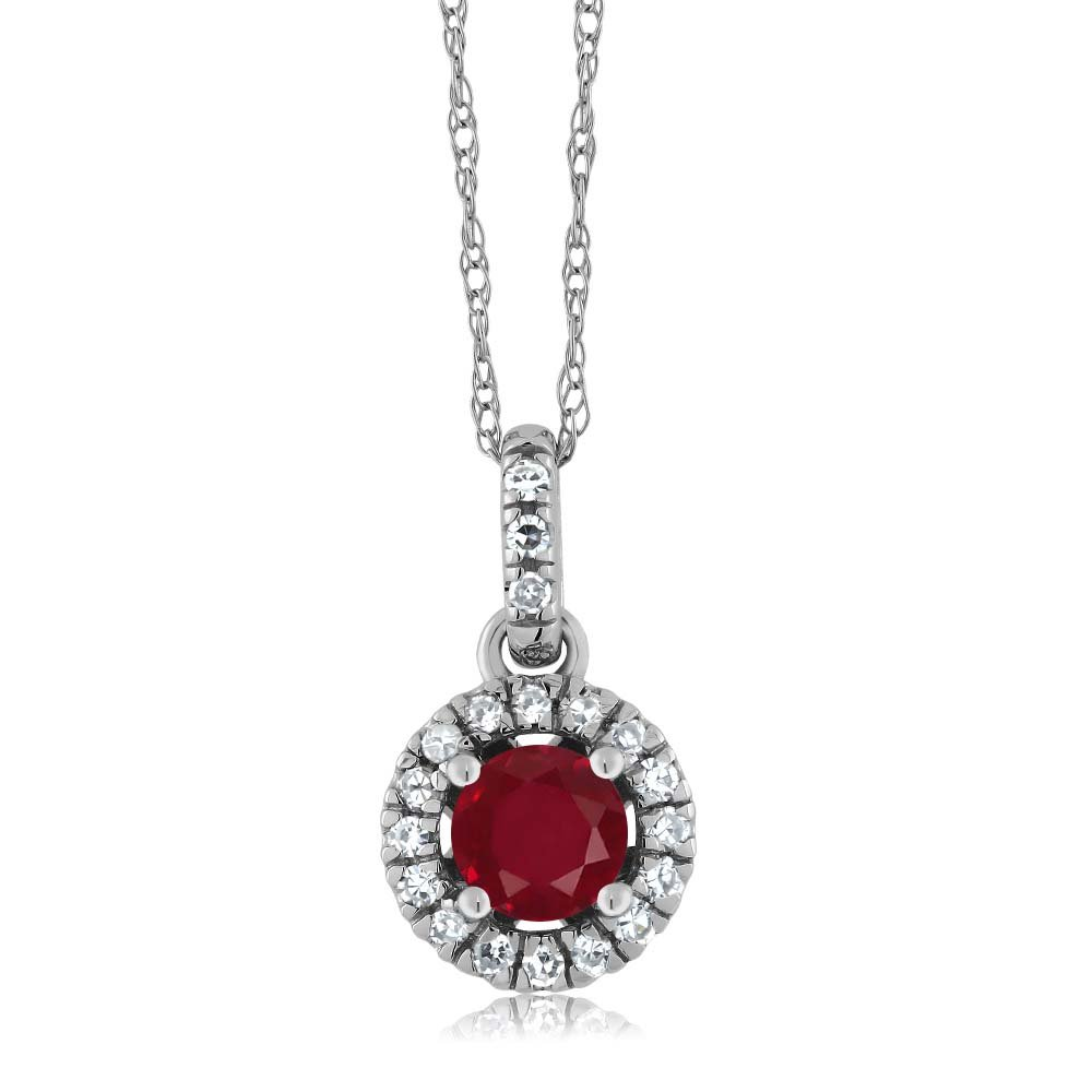 18K White Gold Diamond Halo Solitaire Pendant 0.40 Ct Round Red by Gem Stone King (Image #1)
