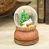 Roman Baby Jesus in Manger with Christmas Tree Musical Snow Globe Plays Joy to the World