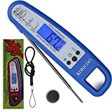 KOINCOO-Instant Read Thermometer for Cooking Food BBQ Kitchen Bar Bartender Grill Smoker Water Candy Sugar Home,Best Ultra Fast Digital Kitchen Probe.Includes Internal Meat Temperature Guide (Blue)