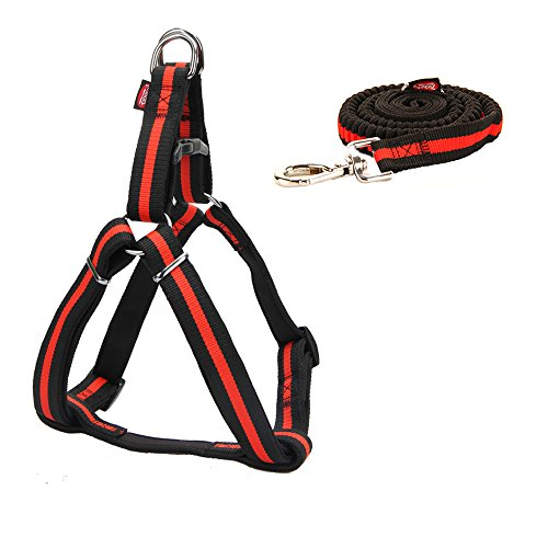 zichen Elastic Stretch Nylon tow rope Adjustable for large dog rope Husky Tibetan Mastiff German Shepherd Black Traction rope 3foot-5foot (Red)