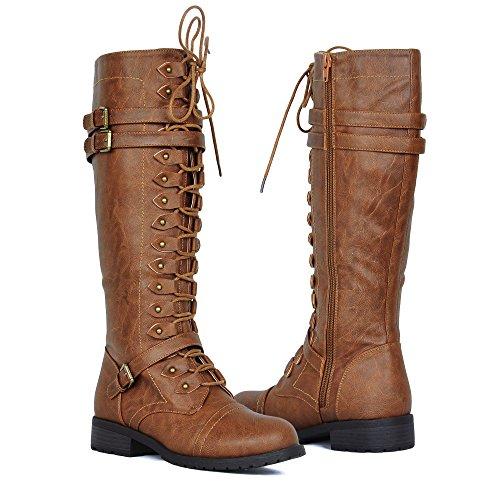 Damen Kniehohe Reitstiefel Schnürsenkel Schnallen Winter Combat Boots Bräunen