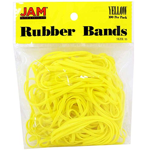 JAM Paper® Rubber Bands - Regular Size 33 - Yellow - 100 Color Rubber Bands Per Pack