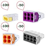 HIFROM Push-in Wire Connector 2 port/4 port/6 port and 8 Port Combination Set for Junction Boxes Wire Wall-Nut Assortment Pack (Set of 300pcs)