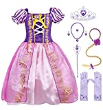 Cotrio Rapunzel Costume Dress Girls Princess Dresses Halloween Outfits Accessories Size 10(9-10 Years, Purple, 140, Wig Gloves Tiara Scepter Necklace Ring Earrings)