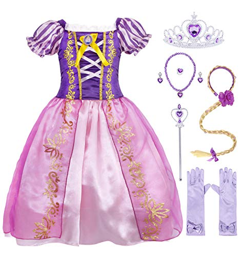 Cotrio Rapunzel Costume Dress Girls Princess Dresses Halloween Outfits Accessories Size 12(11-12 Years, Purple, 150, Wig Gloves Tiara Scepter Necklace Ring Earrings)]()