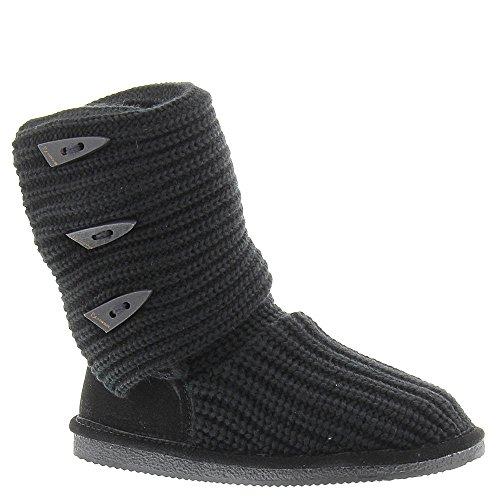BEARPAW Knit Tall Triangle Button Boot - Women's Black, 9.0