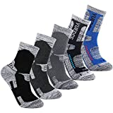 YUEDGE 5 Packs Men's Antiskid Wicking Outdoor Multi Performance Hiking Cushion Socks, Men shoe 7-10.5 US Size