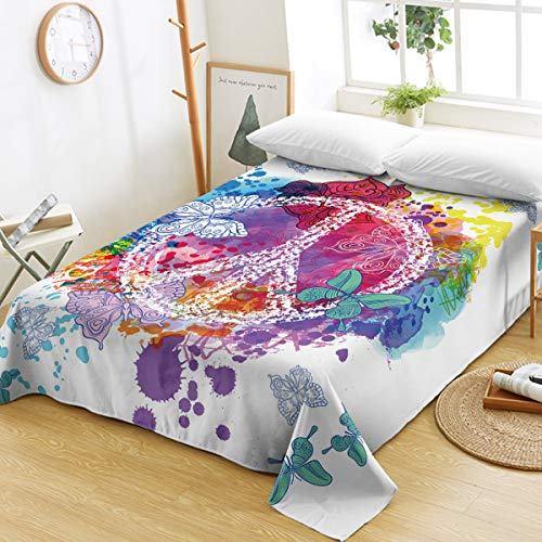 Sleepwish Flat Sheet Hippie Psychedelic Butterfly Peace Sign Bedding Sheets Teen Girls Soft Bed Top Sheet Watercolor Purple Pink Turquoise Teal Blue - Turquoise Sign Peace
