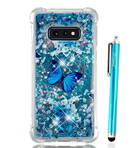 Cattech Galaxy S10e Case Glitter Liquid Sparkle Floating Luxury Bling Cute for girls women [Drop Protection][Non-slip Grip] Slim Clear TPU Cover for Samsung Galaxy S10e (2019) +Stylus (Blue Butterfly)