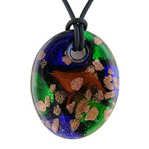Green Murano-style Glass Oval Pendant Rubber Cord Necklace, 20-22