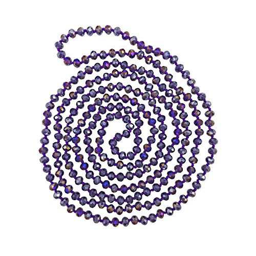 MGR MY GEMS ROCK! BjB 80-inch Long Endless Infinity Beaded Statement Crystal Necklace in Purple