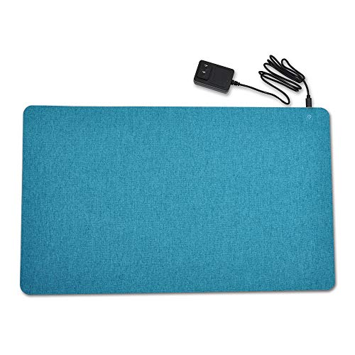 (Graphene Heating Pad, Warm Desk Pad,Mat, Game Mouse Pad, comfortable Writing Surface for Home & Office, 3 Heat-Settings, 14v Safe Voltage Automatic Control. (Bondi blue))