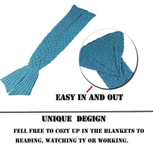 Feiuruhf Handmade Mermaid Tail Blanket Soft Sofa Blanket for Adult (lake blue)