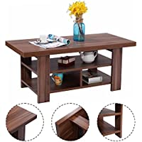 Giantex Rectangular Wood Coffee Table for Living Room with Storage Shelves, Walnut