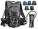 Live Infinitely Hydration Backpack with 2.0L TPU Leak Proof Water Bladder- 600D Polyester -Adjustable Padded Shoulder, Chest & Waist Straps- Silicon Bite Tip & Shut Off Valve- (Grey Edge)