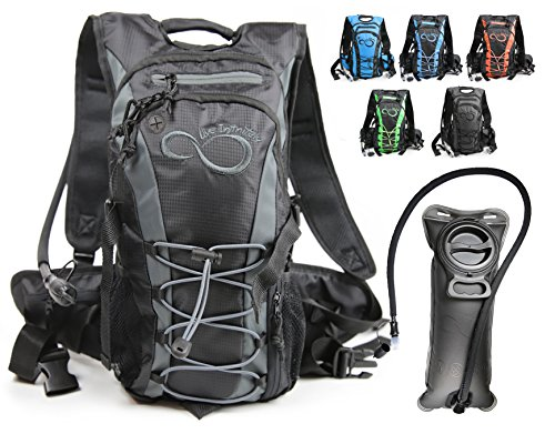 Live Infinitely Hydration Backpack with 2.0L TPU Leak Proof Water Bladder- 600D Polyester -Adjustable Padded Shoulder, Chest & Waist Straps- Silicon Bite Tip & Shut Off Valve- (Grey Edge) ()