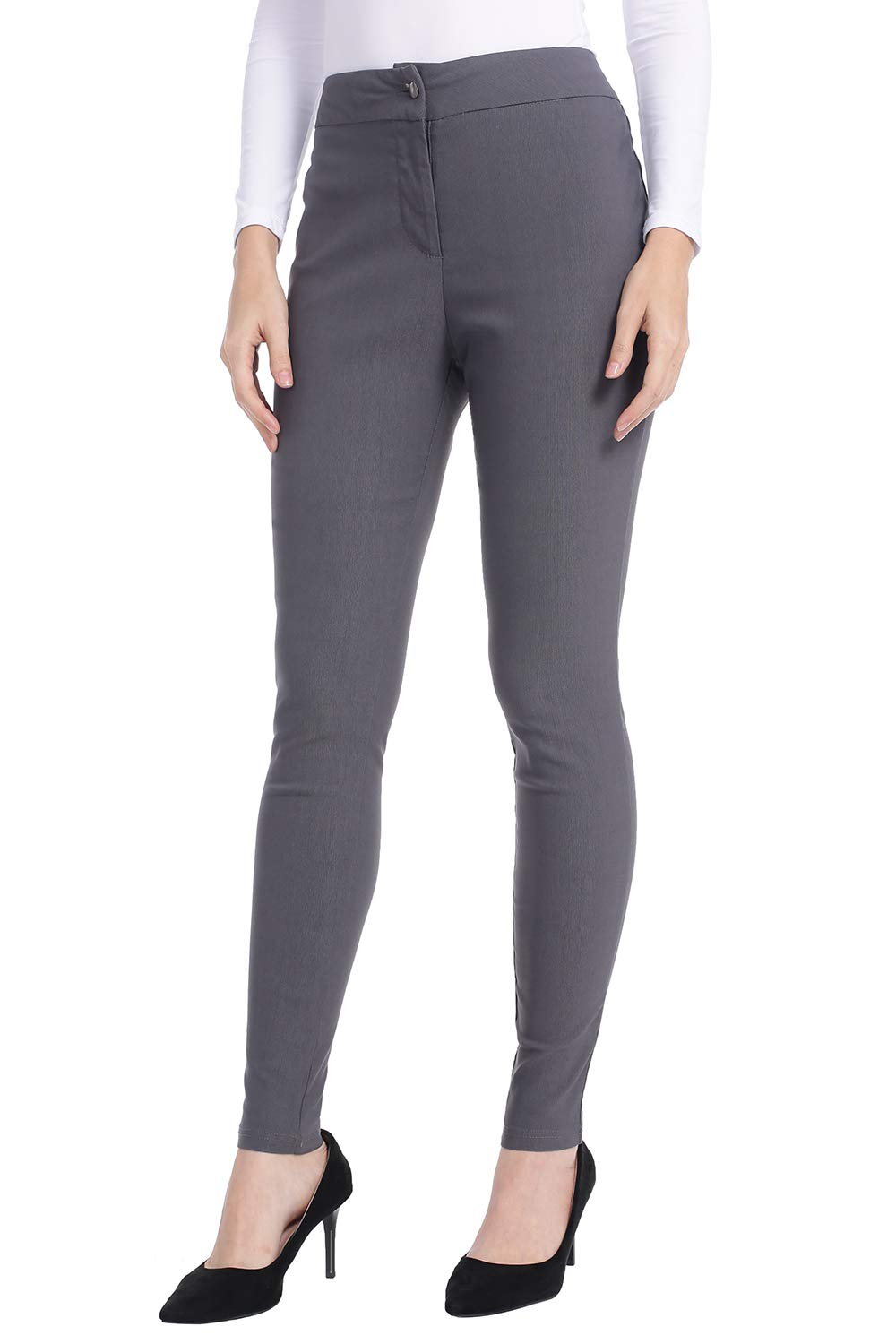 AUQCO Dress Pants for Women Business Casual Slim Fit Skinny Trousers Dark Grey by AUQCO