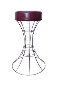 Zeyu Stainless Steel Metal Round Stool with Leather Seat for Sitting, Stool for Kitchen, Stool for Home, Multipurpose Stool (Silver Color)