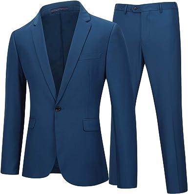 Traje De 2 Piezas Para Hombre Trajes Para Hombres Blazer Y Pantalones 1 Boton Elegantes Vestir Amazon Es Ropa Y Accesorios