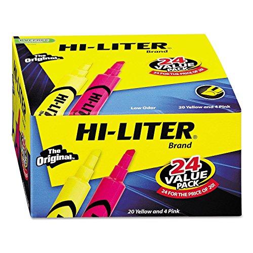 HI-Liter Desk-Style Highlighter, Chisel Tip, Assorted Colors, - Fluorescent Dennison Hi Avery Liter