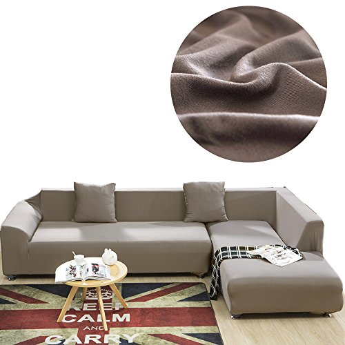 ALLS'Wonderland Universal Sofa Cover For L Shape, Polyester Fabric Stretch Slipcover, 2pcs Cushion cover, Solid Color