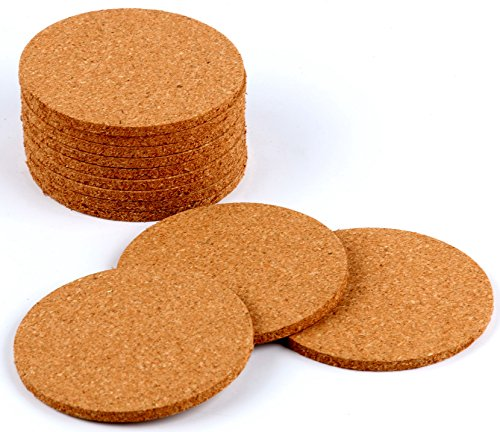 Round Hot Pads Cork Bar Drink Coasters Set of 12 (3.5, Light Brown)]()