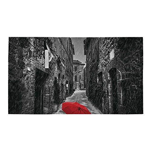 "C COABALLA Black and White Rectangular Bath Rug,Red Umbrella on a Dark Narrow Street in Tuscany Italy Rainy Winter Decorative for Bathroom,32"" L x 20"" W"