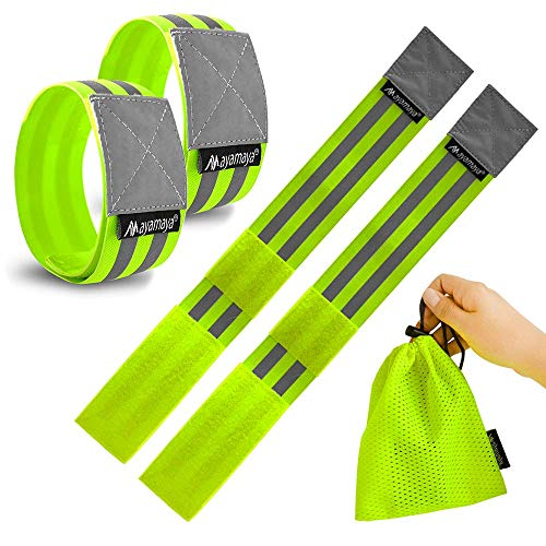 Imperial Station Reflective Running Armband, 4Pcs High Visibility Elastic Safety Gear for Men Women Kids Night Cycling, Dog Walking, Jogging, Hiking Reflector Tape Wearable as Ankle Leg Wrist Band from Imperial Station