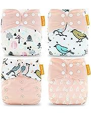 HahaGo 4 st babyduk blöja tvättbar återanvändbar blöjinsats allt-i-ett-fickblöja för de flesta spädbarn och småbarn Light Pink, Bird