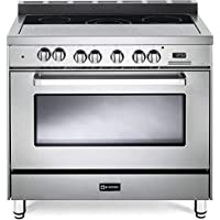 Verona VEFSEE365SS 36 Electric Range with 4 cu. ft. European Convection Oven Black Ceramic Glass Cooktop 5 Burners Dual Center Element Chrome Knobs and Handle: Stainless Steel