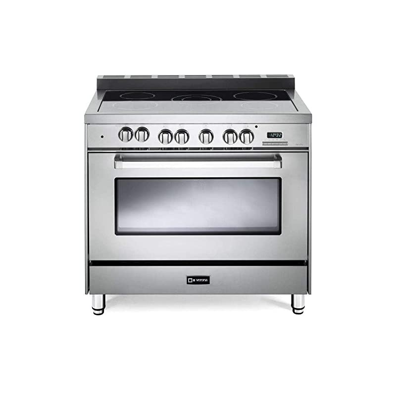 """Verona VEFSEE365SS 36"""" Electric Range with 4 cu. ft. European Convection Oven Black Ceramic Glass Cooktop 5 Burners Dual Center Element Chrome Knobs and Handle: Stainless Steel"""