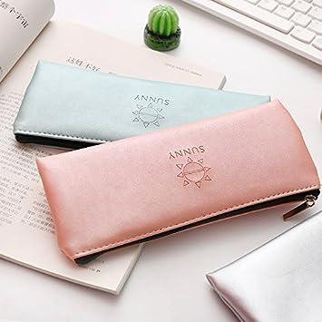 Estuche de piel para lápices y suministros escolares, color verde, dorado, plateado, rosa y plateado, ideal como regalo de papelería Medium verde: Amazon.es: Hogar