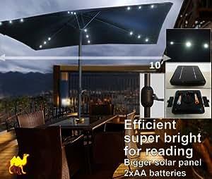 STRONG CAMEL 10'x6.5' SOLAR LED LIGHT PATIO UMBRELLA OUTDOOR SUNSHADE MARKET SUNBRELLA FABRIC-BLACK