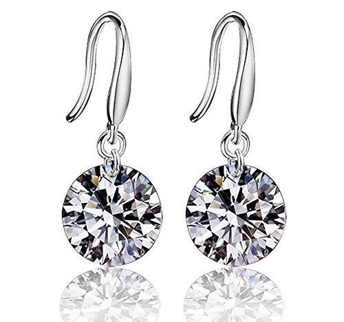 Hosaire Dangle Earrings Womens Silver Earings Drop Shiny Cubic Zirconia Studs Hypoallergenic for Girls