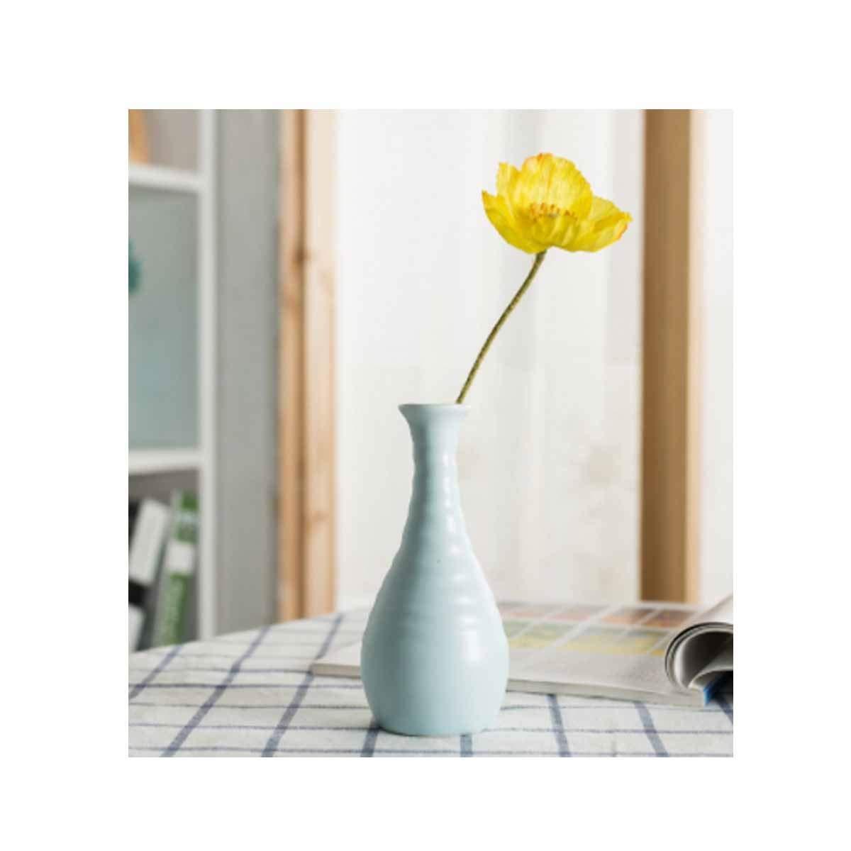 花瓶、クリエイティブエレガントなセラミック花瓶、小さな新鮮なデスクトップのリビングルームのオフィスの装飾、パターンブルー (Color : Blue 14) B07RSXYP4B Blue 14