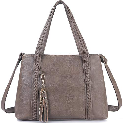 (iYAFFA Leather Tote Bag for Women, Shoulder Handbag Compatible with Tassel Crossbody Purse Soft and Large Capacity Apricot)
