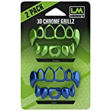 Loudmouth 3D Chrome Grillz Blister Pack for Football Mouth Guard (3D Chrome Grillz Blister - Blue/Green)
